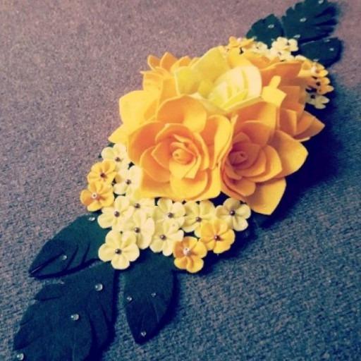 رومیزی نمدی گل برجسته